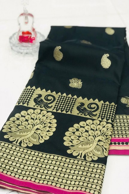 Black Banarasi Silk Golden Zari Weaving Saree - gnp007942