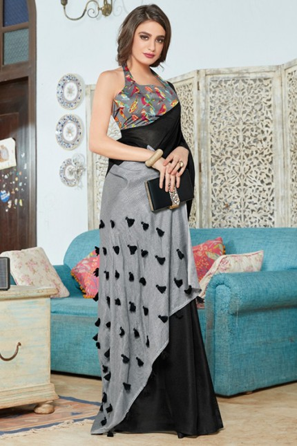 Black Color Cotton Silk Saree with Fancy Tassels & Digital Printed Blouse - gnp006536
