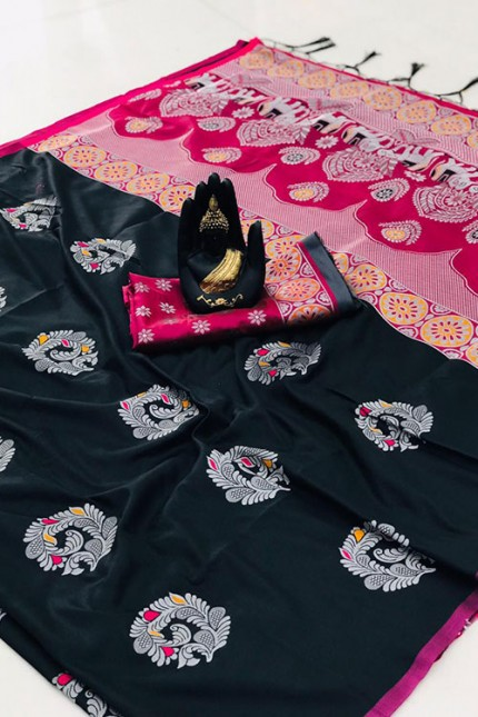 Black Colored Lichi Silk Saree - gnp007914