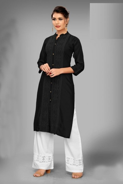 Black Colored Rayon Kurti With Palazzo - gnp006525