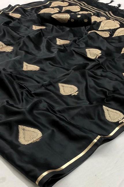 Black Pure Silk Weaving Saree - gnp007772