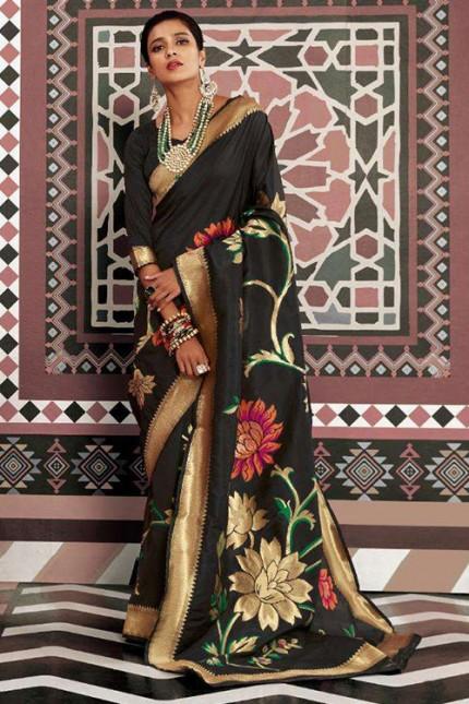 Black Pure Silk Weaving silk Saree - gnp007631