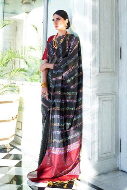 Black Soft Handloom Weaving Silk Saree with Dhaga Work - gnp007291