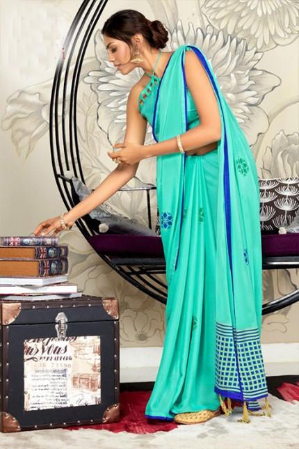 Blue Chiffon Printed Saree with Blouse - gnp006765