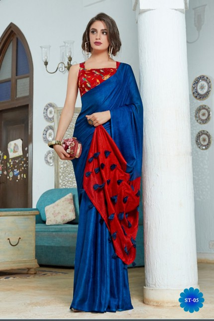 Blue Color Cotton Silk Saree with Fancy Tassels & Digital Printed Blouse - gnp006539
