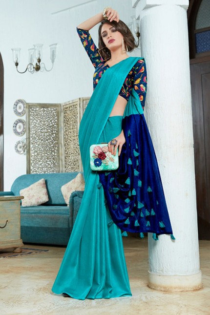 Blue Color Cotton Silk Saree with Fancy Tassels & Digital Printed Blouse - gnp006545