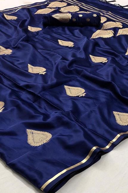 Blue Pure Silk Weaving Saree - gnp007773