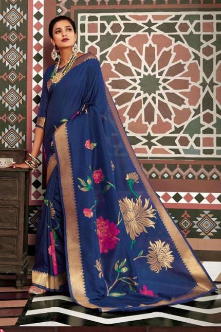 Blue Pure Silk Weaving silk Saree - gnp007629