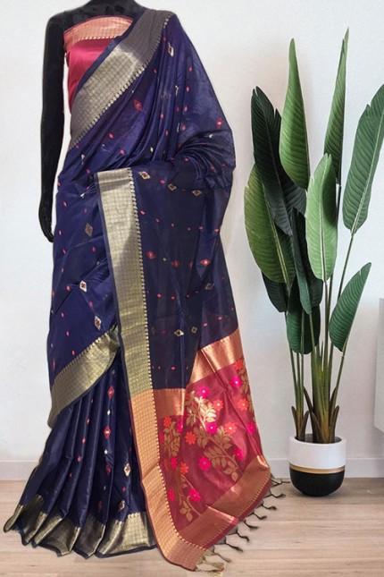 Blue Soft Handloom Cotton Weaving Saree - gnp008043