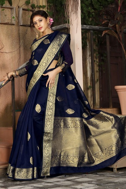 Blue Soft Weaving Cotton with Jacquard Border - gnp007581