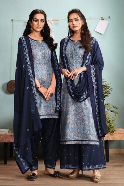Blue Un-Stitched Cotton Satin Suit with Dupatta - gnp007011