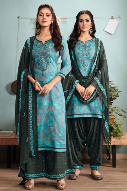 Blue Un-Stitched Cotton Satin Suit with Dupatta - gnp007015