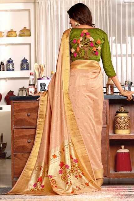 Brown Colored Weaving Cotton Silk Saree with Fancy Blouse - gnp007186