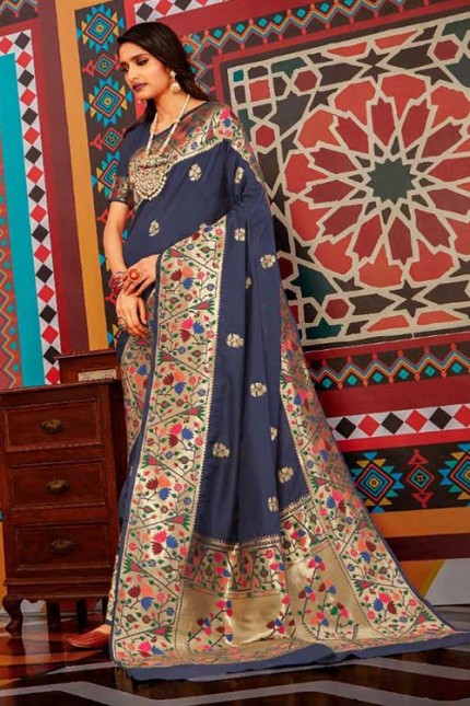 Buy Blue Colored Heavy Paithani Silk Saree - gnp007255