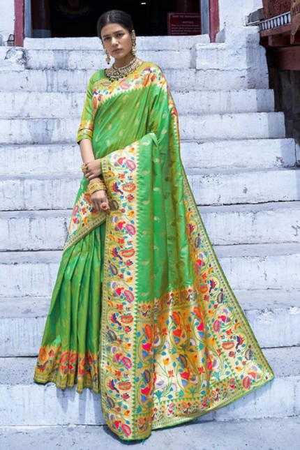 Buy Green Colored Heavy Paithani Silk Saree - gnp007256