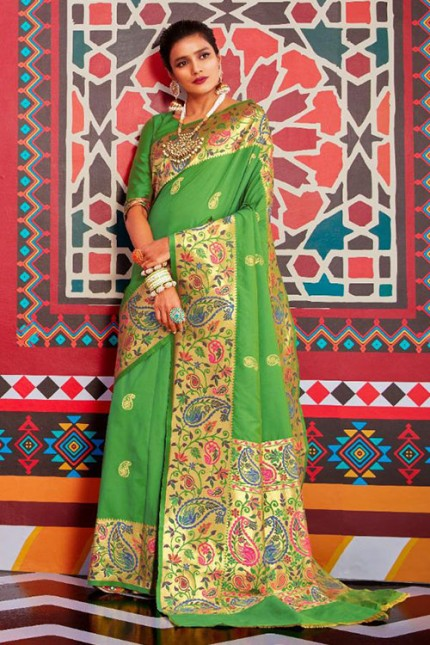 Buy Green Colored Heavy Paithani Silk Saree - gnp007257