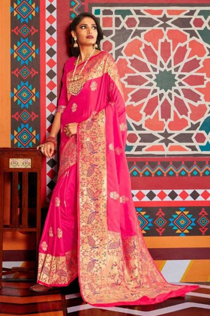 Buy Pink Colored Heavy Paithani Silk Saree - gnp007259