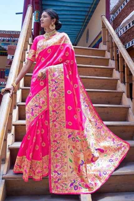 Buy Pink Colored Heavy Paithani Silk Saree - gnp007260