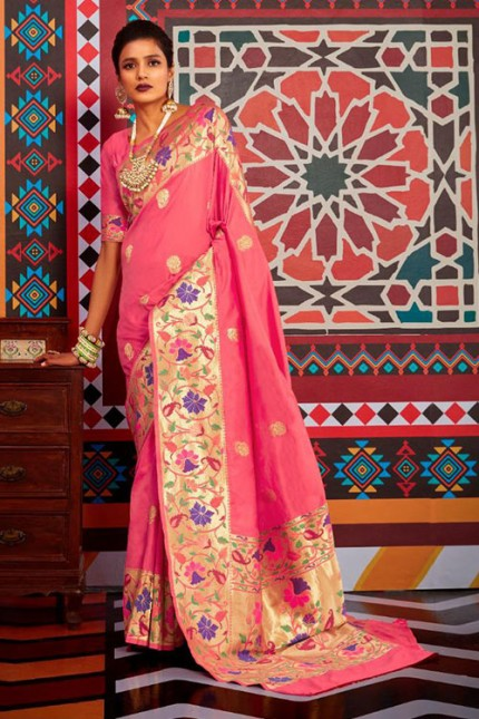 Buy Pink Colored Heavy Paithani Silk Saree - gnp007261