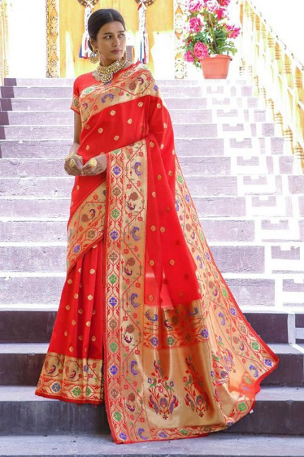 Buy Red Colored Heavy Paithani Silk Saree - gnp007262