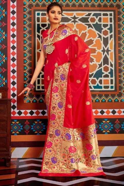 Buy Red Colored Heavy Paithani Silk Saree - gnp007263