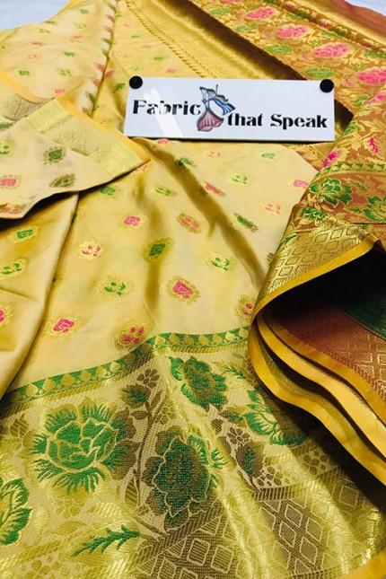 Chikudi Paithani Style Banarasi Silk Saree - gnp006407