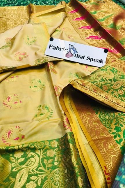 Chikudi Paithani Style Banarasi Silk Saree - gnp006411