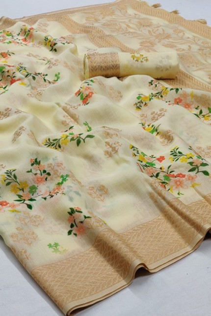 Cream Silk Floral Digital Printed Saree - gnp006695