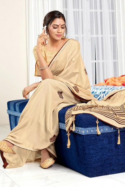 Cream Chiffon Printed Saree with Blouse - gnp006769