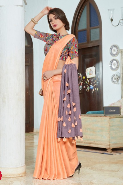 Cream Color Cotton Silk Saree with Fancy Tassels & Digital Printed Blouse - gnp006546