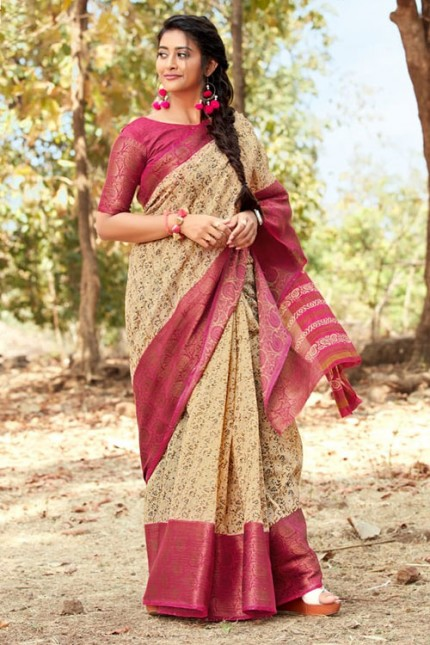 Cream Colored Handloom Weaving Linen Saree - gnp006944