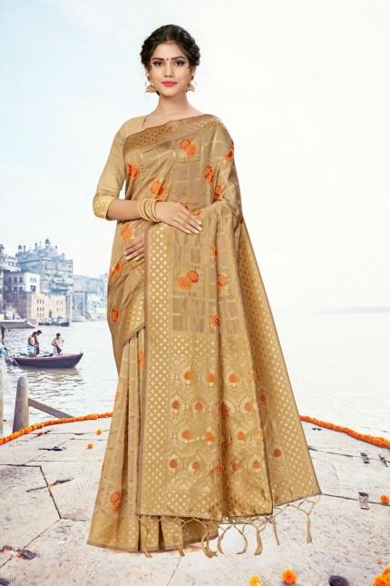 Cream Coloured banarasi silk saree gnp007867 - banarsi saree look