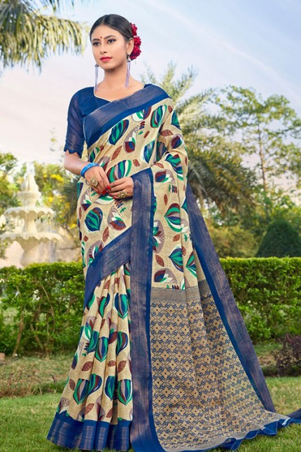Cream Cotton Kasab Zari Patta Saree - gnp006784