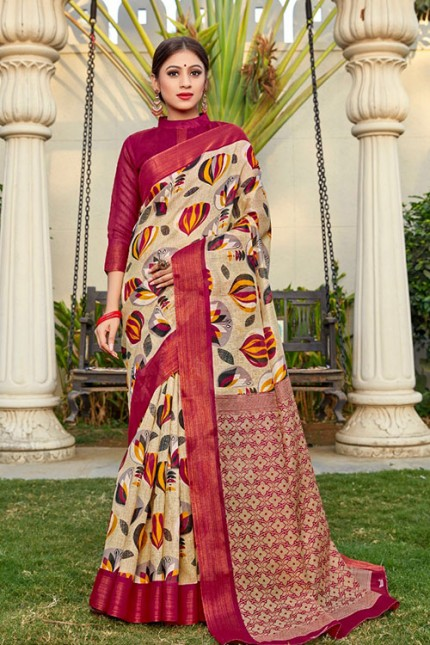 Cream Cotton Kasab Zari Patta Saree - gnp006785