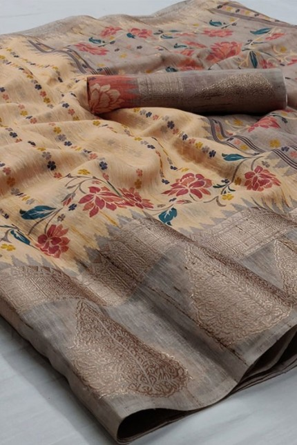 Cream Floral Digital Printed Linen Saree with Jacquard Border - gnp006663