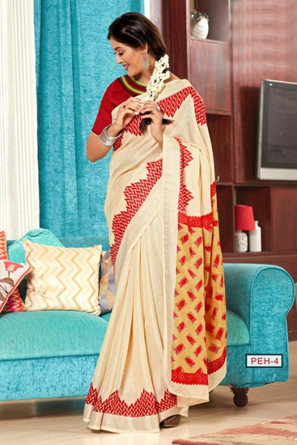 Cream Linen Printed Saree with Hand Worked Blouse - gnp006754