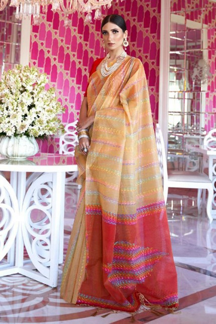 Cream Soft Handloom Weaving Silk Saree with Dhaga Work - gnp007287