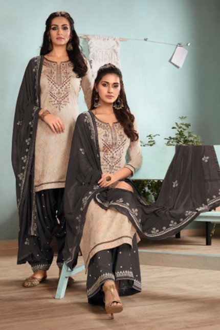 Cream Un-Stitched Cotton Satin Suit with Dupatta - gnp007018