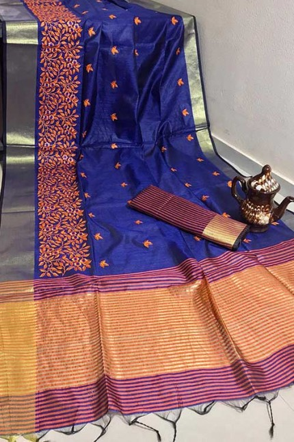 Crystal Silk Saree with Embroidered Work with Zari woven Border - gnp007264