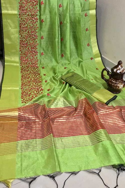 Crystal Silk Saree with Embroidered Work with Zari woven Border - gnp007265