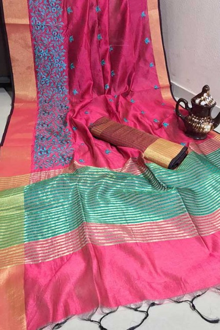 Crystal Silk Saree with Embroidered Work with Zari woven Border - gnp007267