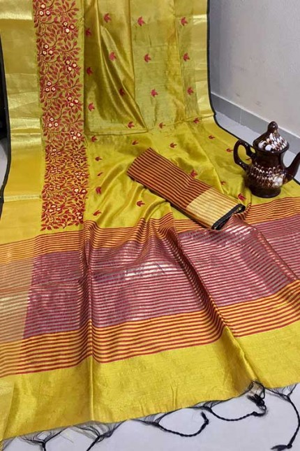 Crystal Silk Saree with Embroidered Work with Zari woven Border - gnp007268