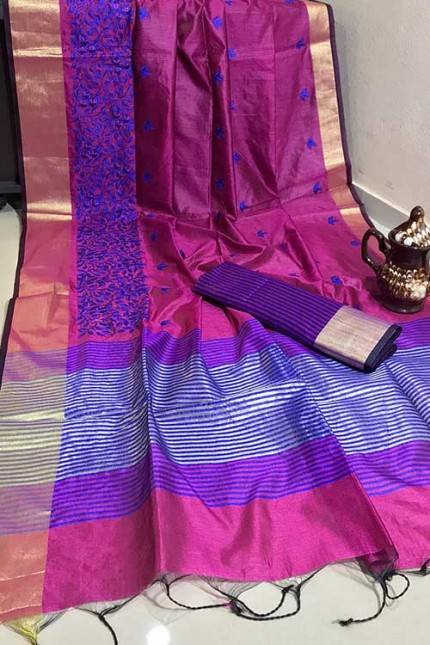 Crystal Silk Saree with Embroidered Work with Zari woven Border - gnp007269