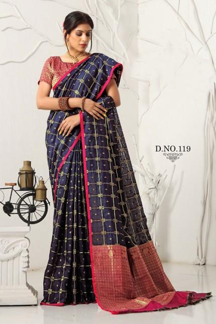 Dark Blue Soft Weaving Cotton with Jacquard Blouse - gnp007535