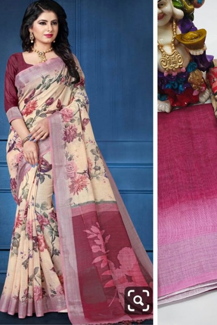 Digital Printed Party Indian Women Ethnic Wedding Wear Linen Sari - gnp006616
