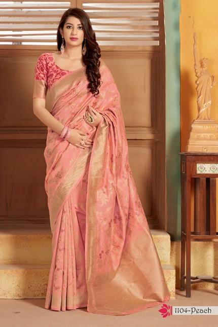 Exclusive Peach Hand Woven Pure Soft Silk Saree - gnp006748