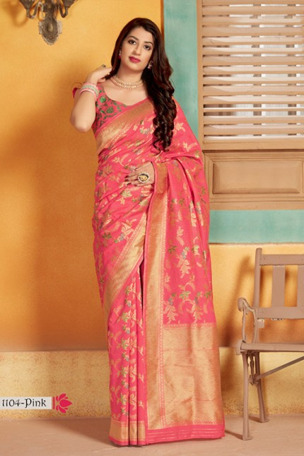 Exclusive Pink Hand Woven Pure Soft Silk Saree - gnp006749