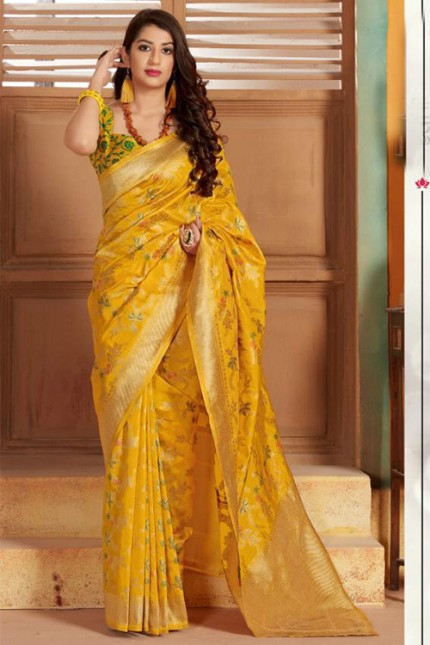 Exclusive Yellow Hand Woven Pure Soft Silk Saree - gnp006750