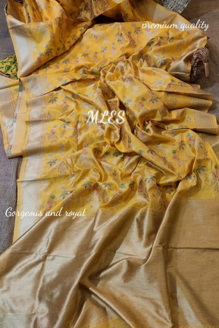 Function Wear Magnificent Yellow Fully Weaved Pure Silk Saree & Blouse - gnp006393