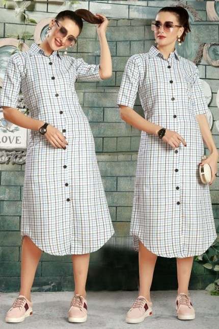Get Glamer Multicoloured Cotton Shirt style Kurti - gnp006442